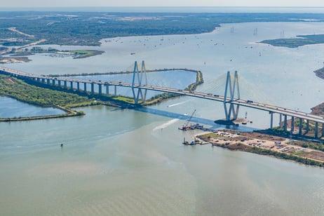 Aerial of Fred Hartman Bridge-1